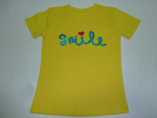 Желтая футболка с пайетками Smile