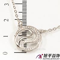Подвеска родиум ''Инь-Янь''в очень мелкие камни, (45 см)