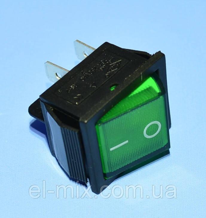 Выключатель 220В KCD2-201N зеленый 2-группы ON-OFF,  Daier