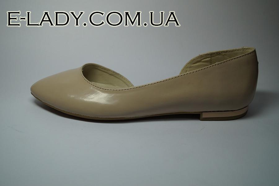 80579c2eb75b Балетки бежевые лаковые из натуральной кожи - Интернет-магазин стильной  женской обуви и сумок в