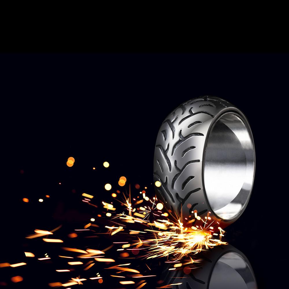 Срібне байкерський чоловіче жіноче унісекс кільце перстень Байкерський колесо 18080 ст