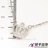 Подвеска родиум ''Корона'',в очень мелкие камни, (45 см)