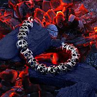 Серебряный байкерский браслет Черепа 58180 ст