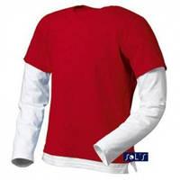 Футболка-лонгслив с длинным рукавом двухцветная MIX Sols, чёрная, красная, голубая, фото 1