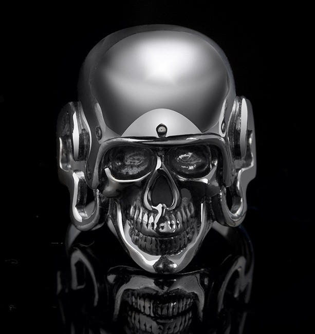 Серебряное байкерское мужское женское унисекс кольцо перстень для байкера череп Беспечный гонщик 18360 ст