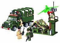 Конструктор Военный лагерь, грузовик с командой, 308 деталей, Brick 811 KK HN