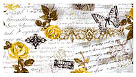 """Ткань  """"Лето"""" желтые розы и с надписями и бабочками для штор и обивки"""