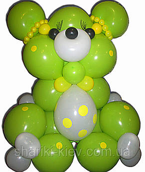 Большой Мишка Гвидо из воздушных шариков на День рождения, фото 2