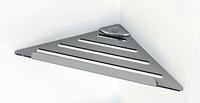Угловая полочка для ванной комнаты металическая с прямоугольным бортиком