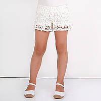 Низ лето шорты белые вязанные в цветочек, подкладка х/б дев. белый 100 % хлопок 141BGBL005 BRUMS, Италия 104(р