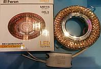 Декоративный встраиваемый светильник с LED  подсветкой Feron CD877 MR-16 (4000K) хром-коричневый