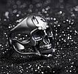 Серебряное байкерское мужское женское унисекс кольцо перстень для байкера череп гонщик Тринадцатый 18400 ст, фото 3