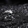 Серебряное байкерское мужское женское унисекс кольцо перстень для байкера череп гонщик Тринадцатый 18400 ст, фото 4