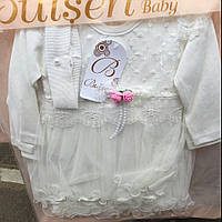 Платье для новорожденных оптом с повязкой с розовыми розочками