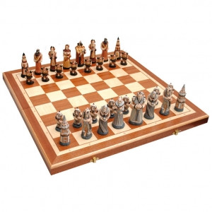 Шахматы 3159  FANTAZY Intarsia, камень, коричневые 56x28,5x7см (король-110мм)