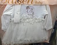Платье для новорожденных оптом с повязкой и с кружевными цветами