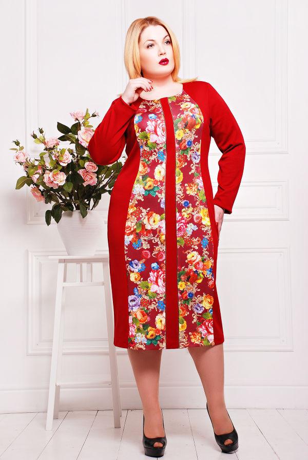 Платье с вертикальным декором цвет красный  НАНА