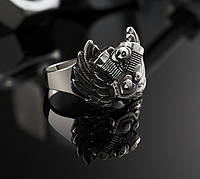 Серебряное байкерское мужское женское унисекс кольцо перстень для байкера Сердце Харлея 18450 ст