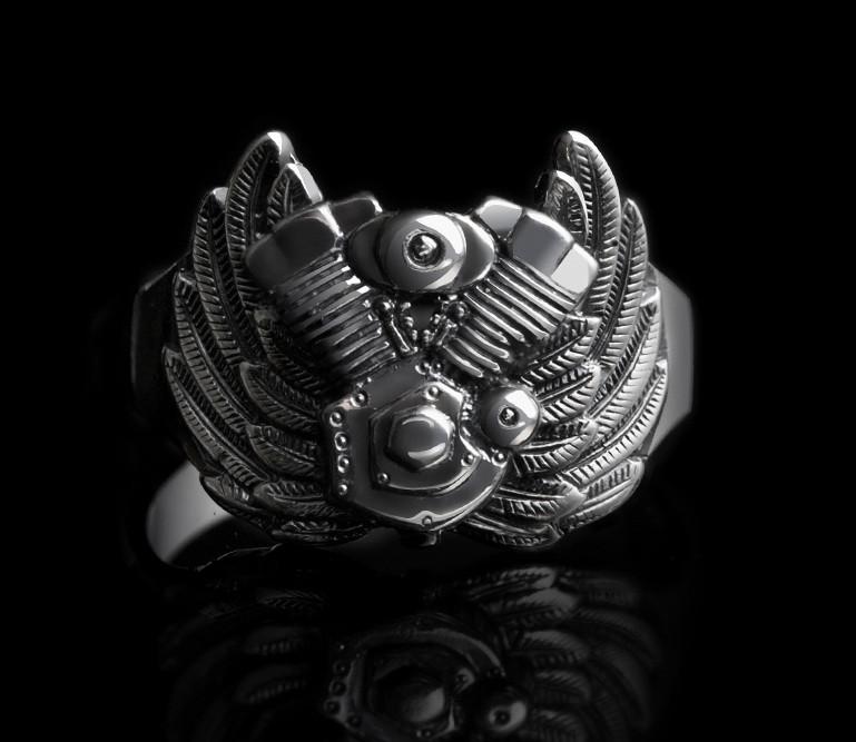 Срібне байкерський чоловіче жіноче унісекс кільце перстень для байкера Серце Харлея 18450 ст