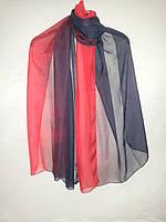 Темно-синий с красным двухцветный женский шифоновый большой шарф