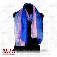 Двухцветный голубой с лиловым женский шифоновый большой шарф