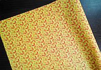 Крафт-бумага подарочная (для цветов) Красные бабочки на желтом фоне 10 м/рулон
