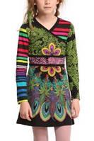 Платья деми платье длинный рукав, один - полосатый дев. черный фон, зеленый узор 100 % хлопок 46V3191 Desigual