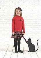 Платья деми платье Красное платье с 3 воланами в серую клеточку, с черной гипюровой вставкой,бантик со стразам