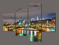 Модульная картина Ночной город, мост 120*96,5 см Код: 550.4к.120