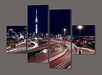 Модульная картина Автобан ночью 120*93 см Код: 557.4к.120