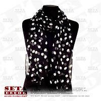 Женский шифоновый большой шарф черный в белый горошек