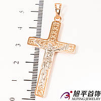 Крест позолота 2 цвета с распятием, 4 см