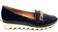Туфли женские лаковые на низком ходу темно-синие KF0208