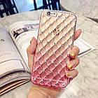 Чехол-накладка мягкий силиконовый, розовый сота градиент с камушками для iphone 6 6s, фото 2