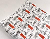 Крафт-бумага подарочная (для цветов) Лондон на белом фоне 10 м/рулон