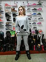 Серый  женский спортивный костюм Adidas адидас с широким вырезом