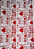 Крафт-бумага подарочная (для цветов) Любовь на белом фоне 10 м/рулон, фото 1