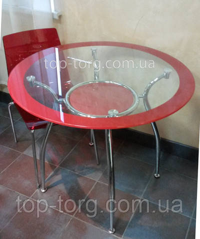 Стол круглый Люси прозрачный с красным. Не раскладной