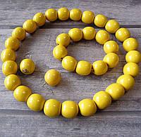 Набір (дерев'яні буси, браслет, сирежки) - жовті/лак