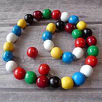 Набір (дерев'яні буси, браслет, сирежки) - кольорові/лак