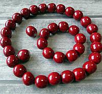 Набір (дерев'яні буси, браслет, сирежки) - вишневі/лак