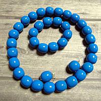 Набір (дерев'яні буси, браслет, сирежки) - голубі/лак