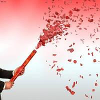 Хлопушка с лепестками роз, сердечками, долларами, фольгой