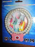 Светящийся ошейник ожерелье из жемчуга для собак и кошек Pet's simulated pearl gleamy necklage.