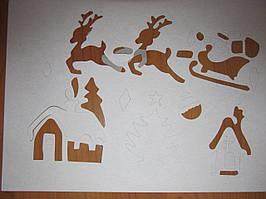 Трафарет для рисования на окнах, набор из 6-ти листов новогодний