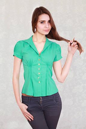 Модная блузка с коротким стильным рукавом мятного цвета., фото 2
