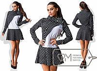 Молодежное трикотажное черное платье с белой вставкой. Арт-3240/23