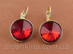 Серьги под золото с красными кристаллами d 1,5 см