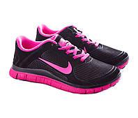 Кроссовки женские Nike free run plus 3.0 черные с розовым