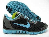 Кроссовки женские Nike free run plus 3.0 черные с бирюзой